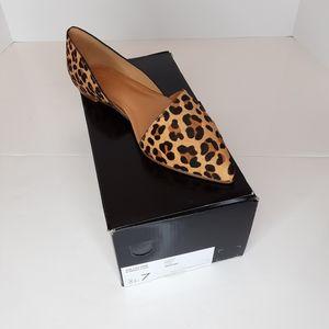 J Crew leopard calf hair D'Orsay flats